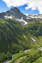 Mountain pizzo andolla in the alps italian with river torrente loranco Royalty Free Stock Images