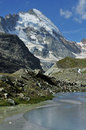 Mountain pool and Dent d'Herens Stock Photos