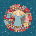 Mountain presents. The child received a gift. Christmas illustration. Vector greeting card Royalty Free Stock Photo