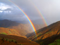Mountain rainbow double in high brown morocc Stock Photo