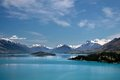 Mountain range ad Lake Wakatipu Stock Images