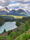 Mountain Range Landscape, Train Track, Canada Royalty Free Stock Photo