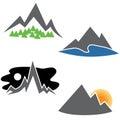 Mountain Range Set Royalty Free Stock Photo