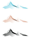 Mountain range in three colours on white background Royalty Free Stock Photo