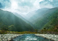 Mountain ranges in the haze gray blue and flowing river himalaya uttarakhand Stock Photography