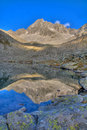 Mountain reflecting in a tarn (alpine lake) Royalty Free Stock Photos