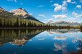 Mountain reflection in waterfowl lake banff national park alberta canada Royalty Free Stock Images