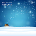 Mountain resort alone hous on snow and blue background with snowflake Royalty Free Stock Images