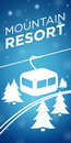 Mountain resort ropeway and spruce on blue background Royalty Free Stock Image