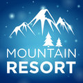 Mountain resort and spruce on blue background Stock Photos