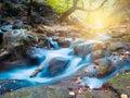 Mountain riffle early autumn outdoor long exposure Stock Photo