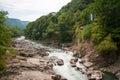 Mountain river Belaya and waterfall, Russia, Western Caucasus Royalty Free Stock Photo