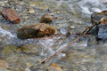 Mountain river flowing quickly among stones, branches and clay brick in waterfalls in autumn time Royalty Free Stock Photo