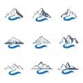 Mountain river logo set, vector icon illustration.