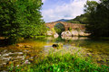 Mountain river with medieval stone bridge Royalty Free Stock Photo