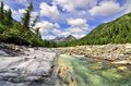 Mountain River and monolithic stone beach Stock Photography