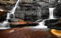 Mountain river waterfall, rocks and clean water