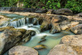 Mountain river with. Waterfall scenery in the middle of green forest Royalty Free Stock Photo