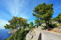 Mountain road along the sea near the village Sa Calobra. The Island Majorca, Spain Royalty Free Stock Photo