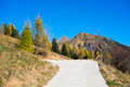 Mountain road in autumn val di scalve alps mountains italy Stock Photo