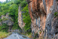 Mountain road country in mountainous landscape a rainy day in les gorges du tarn in france Royalty Free Stock Photo