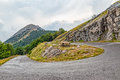 Mountain road curvature cloudy weather view of the highest peaks of the in southwestern montenegro Stock Photography