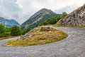 Mountain road curvature cloudy weather view of the highest peaks of the in southwestern montenegro Royalty Free Stock Photography