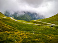 Mountain road dangerous winding through the mountains of romania Royalty Free Stock Image