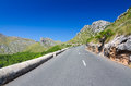 Mountain road on majorca volcanic hills with curvy tropical Royalty Free Stock Image