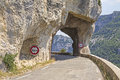 Mountain road narrow tunnel france with small gorges de la nesque provence Stock Photo