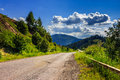 Mountain road near the coniferous forest with cloudy morning sky empty asphalt in light Royalty Free Stock Photos