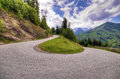Mountain road serpentine in the austrian alps Royalty Free Stock Photo