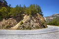 The mountain road small asphalted passing in mountains montenegro Royalty Free Stock Images