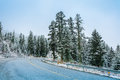 Mountain road with snow winter in weather highway background Stock Image