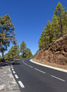 Mountain road on Tenerife leading to volcano Teide Royalty Free Stock Photography