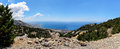 Mountain road to Chora Sfakion town at southern part of Crete island, Greece Royalty Free Stock Photo