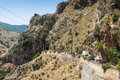 Mountain road and tunnel Crete Royalty Free Stock Photo