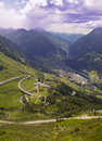 Mountain road and village valley italian alps Royalty Free Stock Images