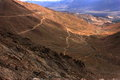 Mountain roads of leh view mud foot made paths leading towards city from khardungla pass worlds highest motor able road in Royalty Free Stock Photo