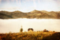 Mountain rural landscape vintage style image of Royalty Free Stock Photo