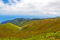 Mountain s crest green landscape in the north of madeira island view towards calheta Royalty Free Stock Images