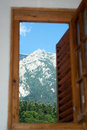 Mountain scene from a cottage at the base of the Stock Photography