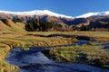 Stream and mountain scenery Royalty Free Stock Photo