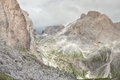 Wide view from the Mondeval area in Dolomites