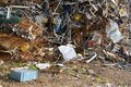 Mountain of scrap metal on a scrap yard Royalty Free Stock Photo