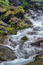 Mountain seething сreek flow of water in rocky terrain Royalty Free Stock Photography