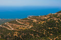 Mountain serpentine with many dangerous turns road near to mediterranean sea at island of crete greece Stock Photography