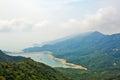 Mountain and shek pik reservoir the photo was taken in lantau south country park hongkong china Royalty Free Stock Photos