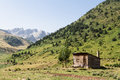 Mountain shelter beautiful mountains background echo s valley spanish pyrenees Royalty Free Stock Image