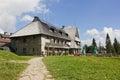 Mountain shelter on the top of turbacz mountain poland building in gorce mountains Royalty Free Stock Photo